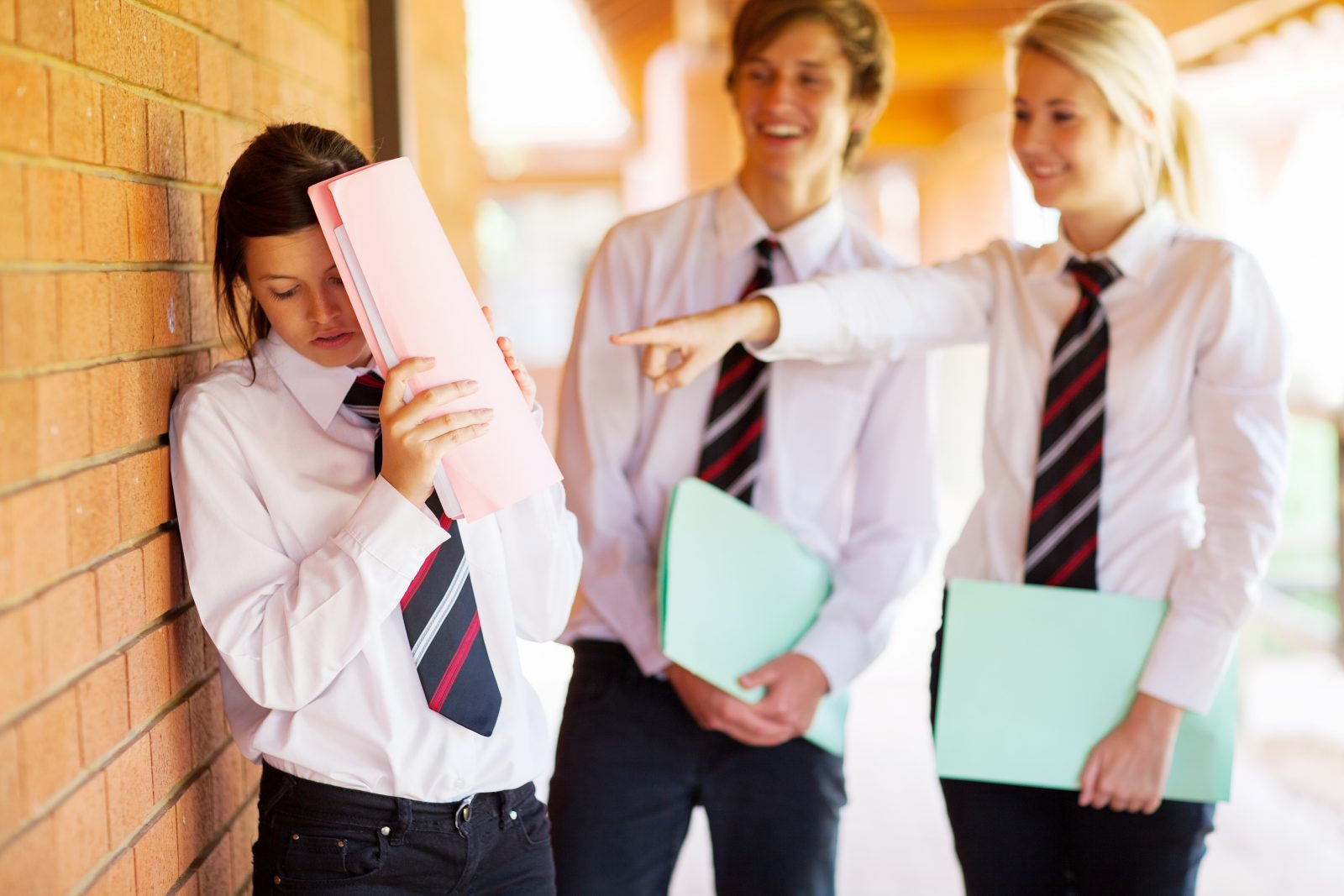 two students bullying another student hiding behind a folder