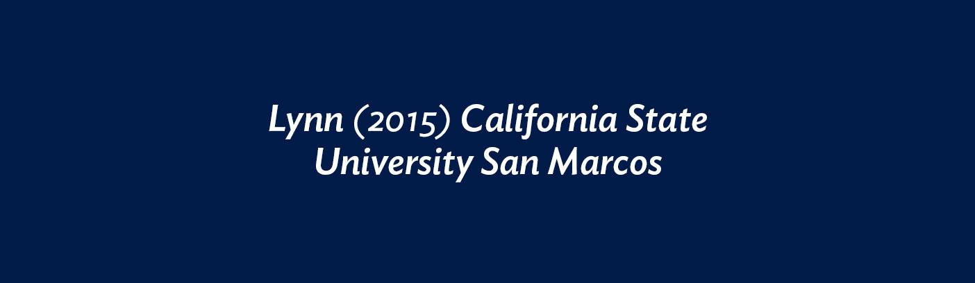Lynn (2015) California State University San Marcos
