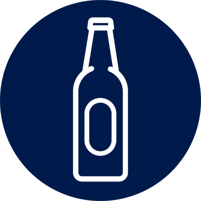Blue circle with white bottle outline, representing Alcoholism