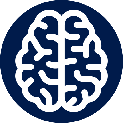 "Blue Circle with Brain outline, representing ""Decreased Cognitive Ability"""