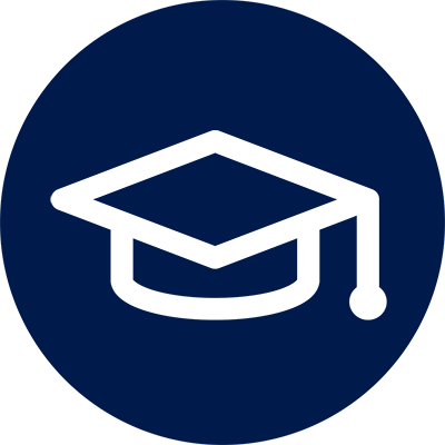 "Blue circle with graduation hat outline, representing ""Poor Academic Achievement"""